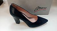 MARCO туфли женские синие на удобном каблуке