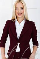 Женский однотонный бордовый пиджак