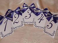 Номерки на столы фиолетовые однослойные