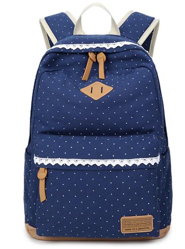 Стильный молодежный рюкзак темно-синий в мелкий горошек
