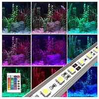 Разноцветная светодиодная лента для подсветки аквариума 30 см. (с пультом и блоком питания)