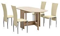 Комлект кухонный ( стол раскладной 80х36/163 см + 4 стула) светлый