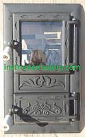 """Дверка спаренная чугунная со стеклом """"Пламя черное"""" (Румыния), фото 1"""