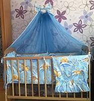 """Навесной задний карман на детскую кроватку """" Мишки с пчелками соты"""" голубой"""
