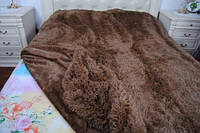 Качественный меховой плед травка шоколад