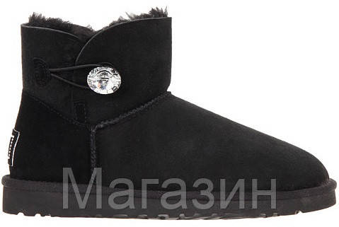 Женские угги UGG Australia Mini Bailey Button, мини угги австралия с кристаллом оригинал черные