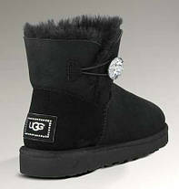 Женские угги UGG Australia Mini Bailey Button, мини угги австралия с кристаллом оригинал черные, фото 2