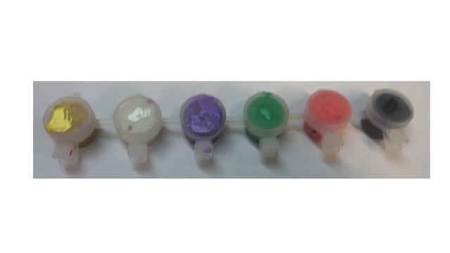 акриловые краски перламутровые набор 6 баночек по 4 мл.