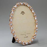 """Шикарная металлическая рамка """"Кристаллы в золоте"""" 15х19 см для фото 12*17 см"""