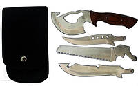 Туристический компактный набор нож - пилка - топорик - тесак