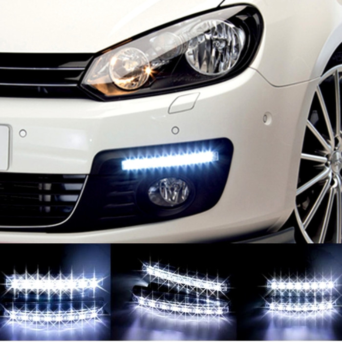 Универсальные светодиодные дневные ходовые огни DRL DR2-030 (8-LED Daytime Running Light 12 V) - интернет магазин Дарим тепло в Киеве