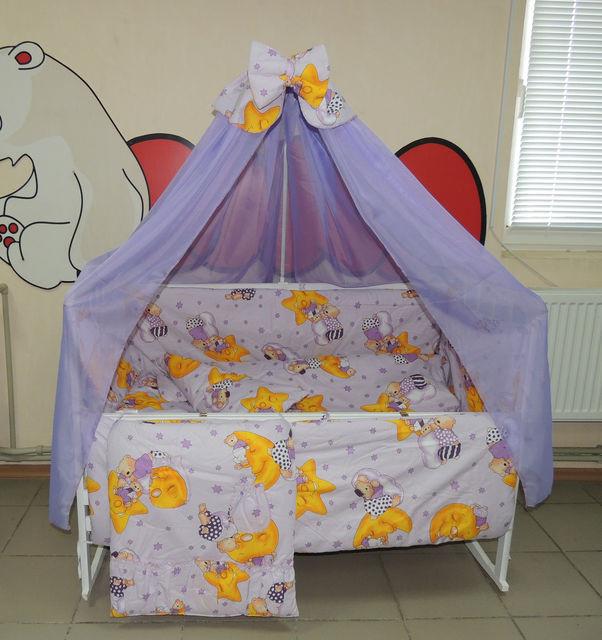 Комплект детского постельного белья Мишки горох ТМ Bonna 9 в 1 фиолетовый