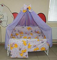 Комплект детского постельного белья Мишки горох ТМ Bonna 9 в 1 фиолетовый, фото 1