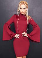 """Короткое облегающее платье дайвинг """"Lea"""" с расклешенными рукавами (2 цвета)"""