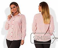 Женская полосатая рубашка в батальных размерах h-1515787