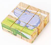 Деревянный пазл из кубиков «Животные саванны», LUCY&LEO