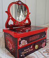 Музыкальная шкатулка с танцующей балериной, красная