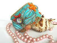 Браслет с лентой шибори и кристаллами Swarovski Дары моря