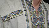 Льняная вышиванка мужская ручной работы, фото 2