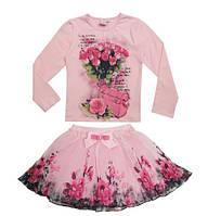 Комплект для девочки в розы кофта и юбка розовый