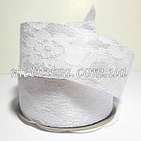 Лента атласная с гипюром, 4 см, цвет белый