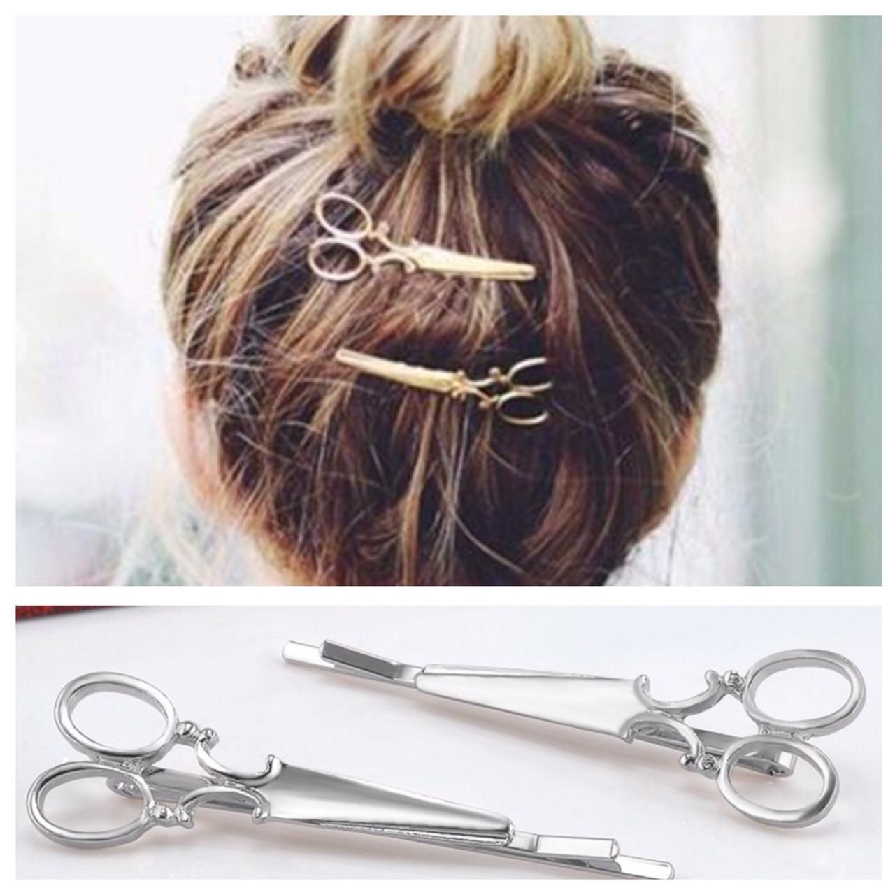 Заколка для волос Ножницы 2 шт (серебристые)