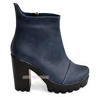 Ботинки кожаные женские на меху на высоком каблуке. Синий цвет, фото 1