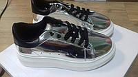 Кроссовки,кеды на толстой подошве,зеркальные,серебро