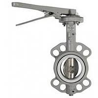 Затвор поворотный дисковый ЗПД типа  Баттерфляй с нержавеющим диском RBV-16-60 PP Ду40 Ру16