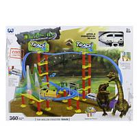 Детская игра железная дорога XM8009AB: локомотив 10 см, 2 динозавра, звук, свет, коробка 47х35х6,5 см
