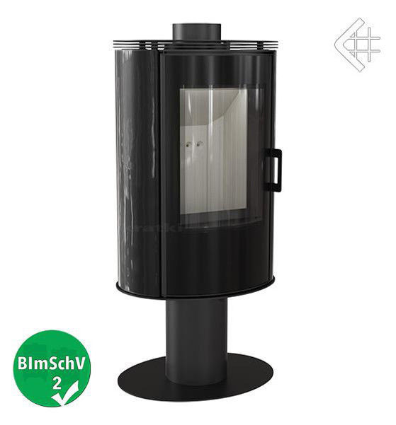 Стальная печь Kratki Koza AB/S/N/O glass вращающаяся с черным кафелем