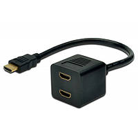 Адаптер digitus hdmi y 2 m black (ak-330400-002-s)
