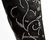 Ботфорты кожаные женские демисезонные, декорированы накаткой камней., фото 9