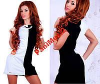 Трикотажное черно белое платье Инь и Янь, фото 1