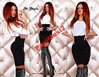 Платье  сочетание черно - белое батист + дайвинг, фото 1