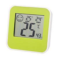 Электронный гигрометр термометр, ЖК-дисплей, крупные цифры, смайлик-индикатор, магнит для фиксации