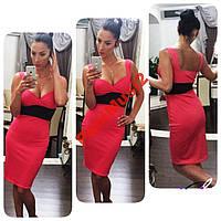 Модное платье в стиле smart casual корал NS618, фото 1