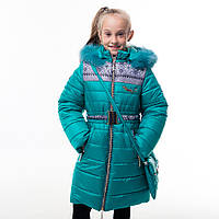 """Зимнее пальто для девочки """"Принт"""", от производителя оптом и в розницу"""