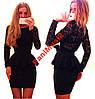 Платье французский трикотаж гипюр с Баской черный