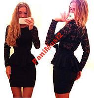 Платье французский трикотаж гипюр с Баской черный, фото 1