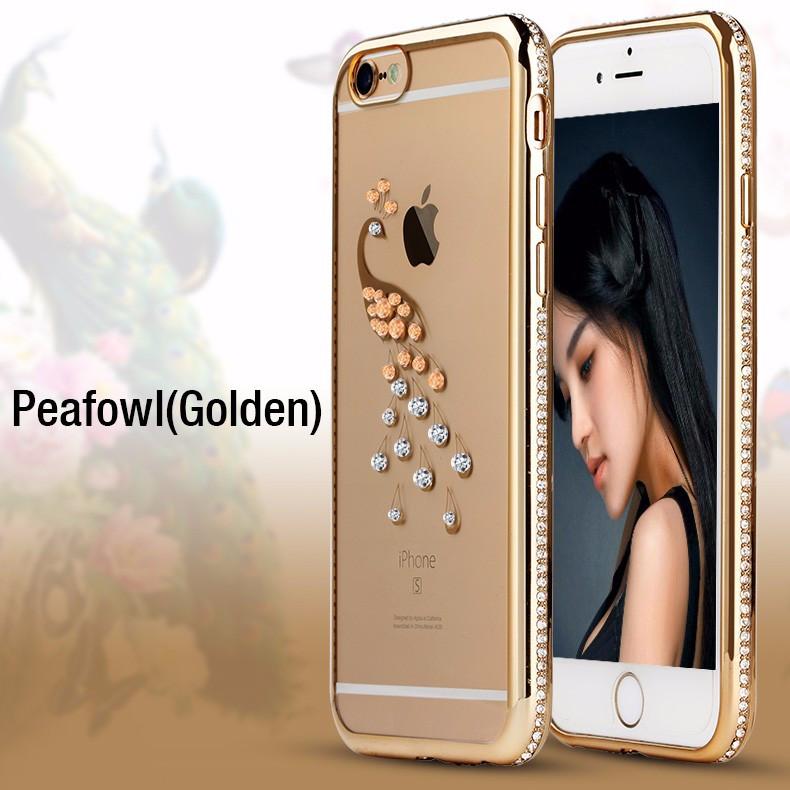 Чехол силиконовый Electroplating Diamond для iPhone 6/6s Peacock Gold, Винница