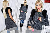 Женское стильное пальто-жилет трансофомер с меховыми погонами \ серый