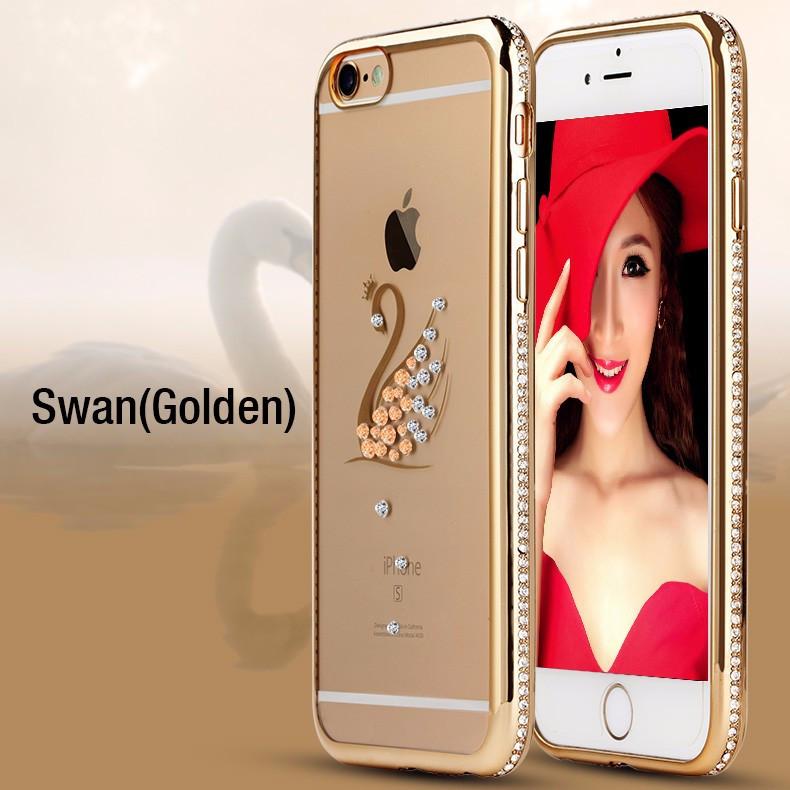 Чехол силиконовый Electroplating Diamond для iPhone 5/5s Swan Gold
