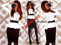 Модное трикотажное платье футляр с баской №93, фото 1
