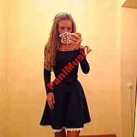Платье Куколка Темно синий Кружево + дайвинг 239, фото 1