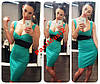 Модное платье в стиле smart casual бирюза NS618