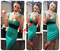 Модное платье в стиле smart casual бирюза NS618, фото 1