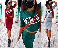 Костюм юбка карандаш топ кофта принт FU*K! №012, фото 1