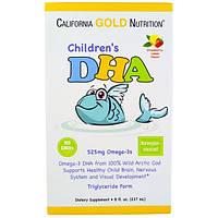 Детский рыбий жир вкус клубника-лимон, California Gold Nutrition, Children's DHA, 237 ml