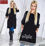 Женское стильное пальто с кожаными рукавами 715 \ черное